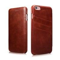 ICARER Card Holder Genuine Leather Case For iPhone6 6s Plus 5.5inch popular credit card slot design on back