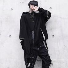 Autumn men oversized punk hip hop hoodie ribbons streetwear men harajuku nightclub DJ singer thin hoody stage sweatshirt costume