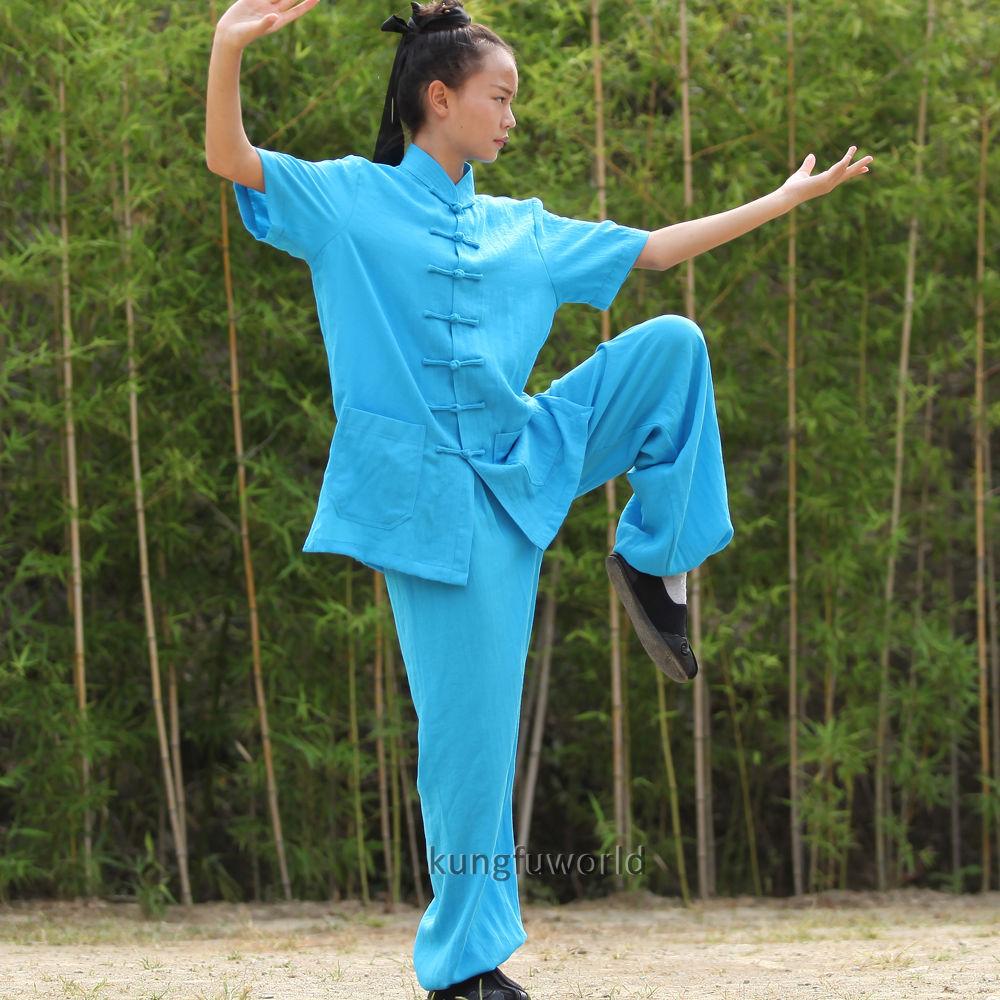 24 Farben Wudang Taoist Frauen Kurzarm Sommer Tai Chi Uniformen - Sportbekleidung und Accessoires - Foto 2