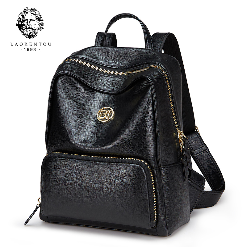 LAORENTOU Brand 2018 Student Backpack Preppy Style Backpacks Solid Soft High Fashion Genuine Leather School Bag For Teenager Gir