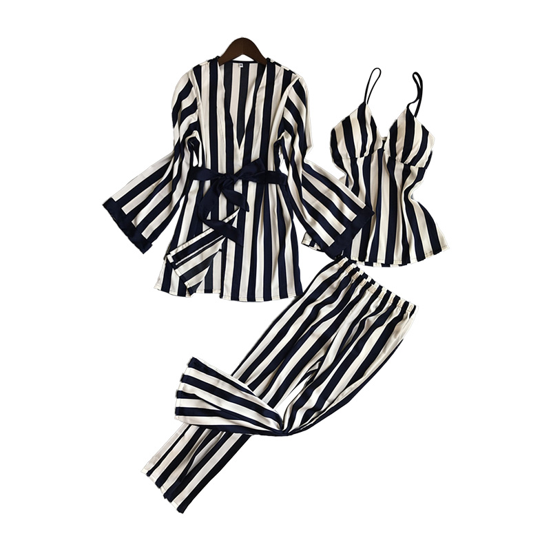 Lisacmvpnel 3 Pcs Striped Sexy Women Pajama Sets Nightdress+Robe+Pant Female Pajamas
