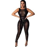 U SWEAR Cross Bandage Jumpsuit Women Mesh Sheer Sleeveless Geometric Sequin Romper Christmas Nightclub Sparkly Overalls