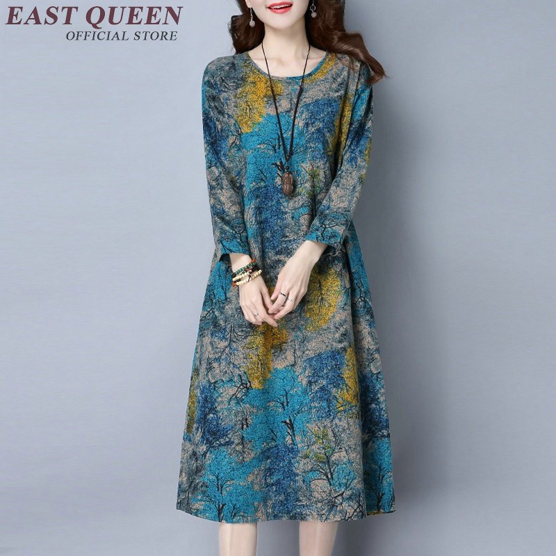 Chinese Traditional Dress Long Sleeve Oriental Dress Women Chinese Oriental Dresses Female Modern Qipao Dress Floral  AA1861  W