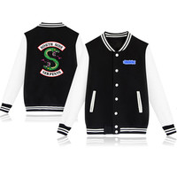 Spring Autumn Fashion Hip Hop Streetwear Riverdale SouthSide Mens Baseball Jacket Polo Jackets Men Outerwear Coats