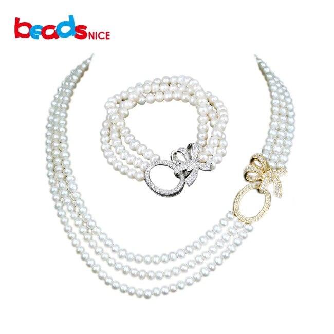 Beadsnice ensembles de bijoux en perles de luxe long collier de déclaration de mariée 925 pendentif en argent collier de perles multi-brins ID30054