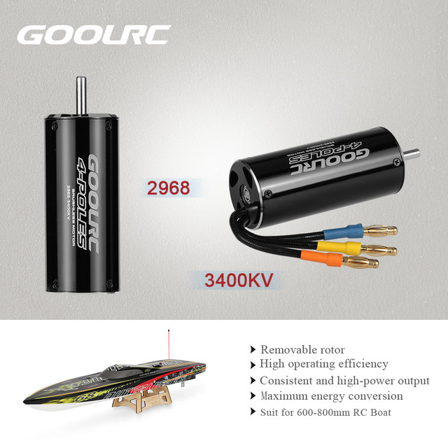 Original GoolRC High Performance 2968 3400KV 4 Poles Brushless Sensorless Motor for 600-800mm RC Boat