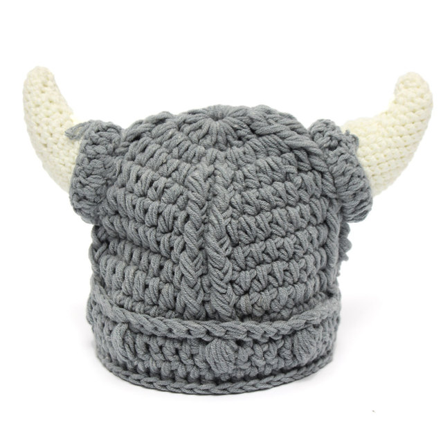 fe3c55315de Unisex Horns Helmet Baby Hats Winter Knit Viking Boy Girls Crochet Ski  Beanie Hat Kid Halloween