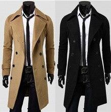 Men's winter coat fashion cashmere sweater coat double-breasted long coat men casual slim windbreaker Plus Size Overcoat