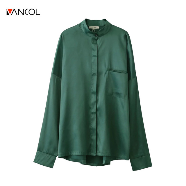 vancol fashion turn down collar oversize casual dark green satin shirt ladies top long sleeve spring women blouses 2017