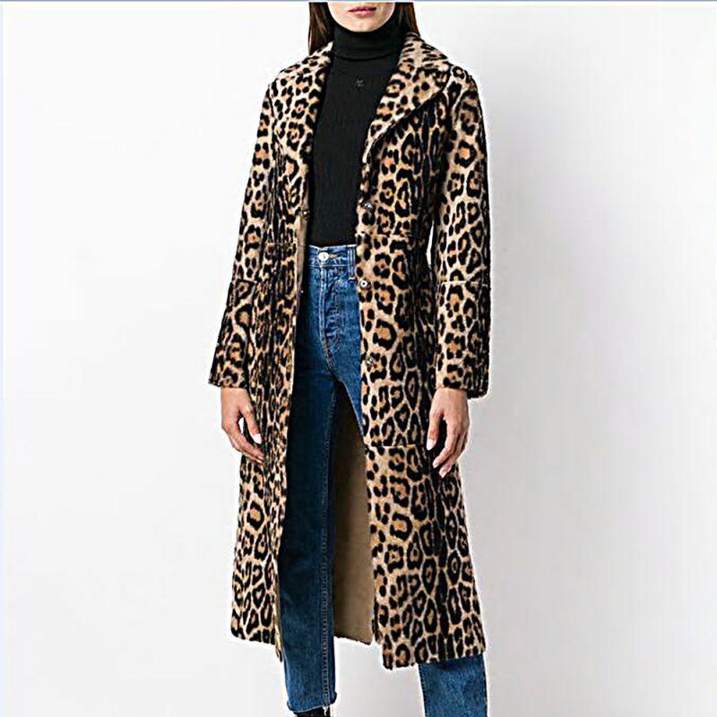 Femmes Turn De Imprimer down Col As Longs Longues Fourrure D'hiver Manteaux La Faux C1 Veste Manches Leopard Des Shown Manteau Sexy Moelleux Vestes Taille Plus xptF6YwZq