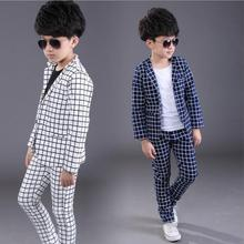 3-12Y Children clothing sets boys Plaid jackets pants suits cotton casual kids spring autumn coats outwear turn-down collar