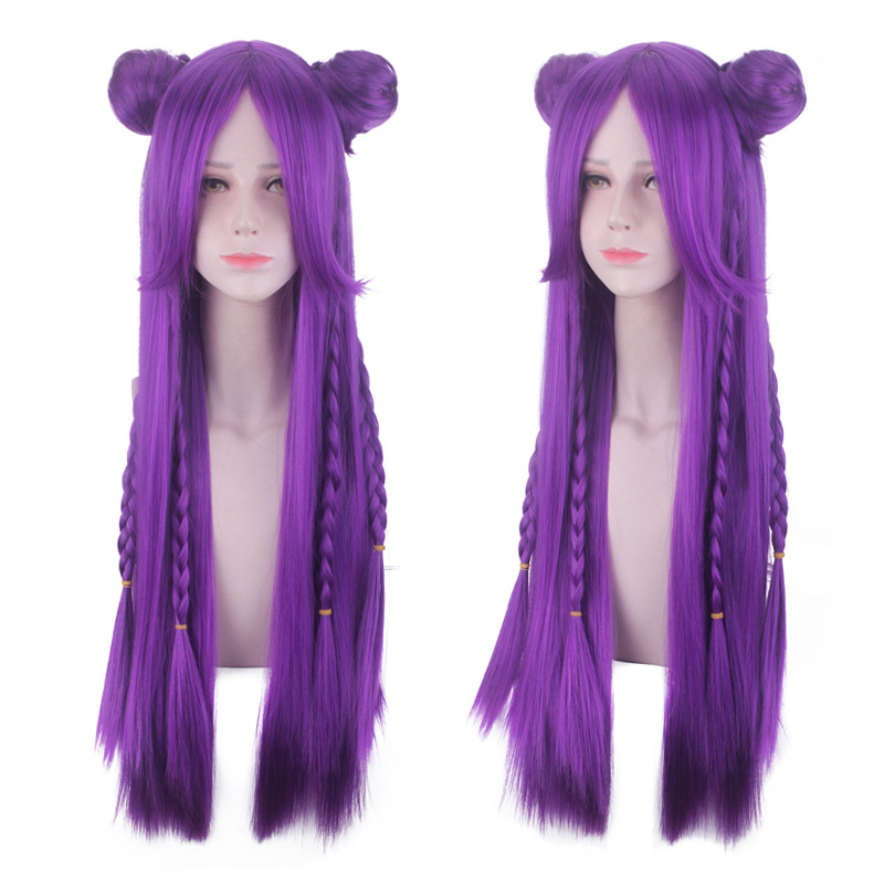 HOT Game LOL K/DA Kaisa Cosplay Hair Kaisa Cosplay Headwear Game LOL KDA 80CM Long Purple Heat Resistant Synthetic Hair Perucas
