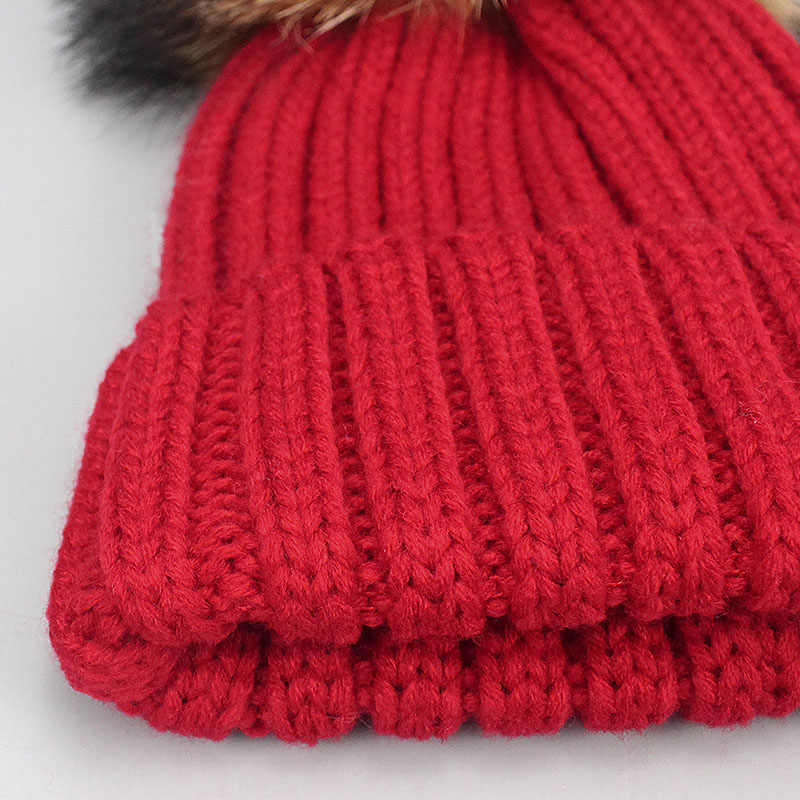 a0305e44 ... Girl Boy Pom Pom Beanie Warm Knitted Skullies Kids Fur Pom pom Hats  Children Real Raccoon