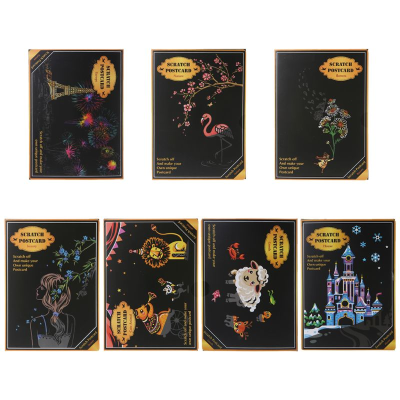 4Pcs/Set Creative Color Postcard Scraping Night Scenes Scratching Cartoon Animal Characters Greeting Cards