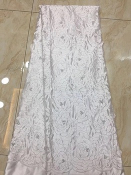 African Lace Fabric 2018 High Quality Lace, W Embroidery Tulle Lace Fabric, African Lace Beaded 5 Yards  X11