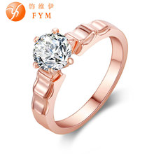 Wedding Ring 18k Rose Gold Plated Round Zircon Austrian Crystal Fashion Women Cocktail Finger Rings for Party Gift Drop Shipping new luxury plant ring rose gold color zircon crystal fashion women cocktail finger rings for party gift wedding girls