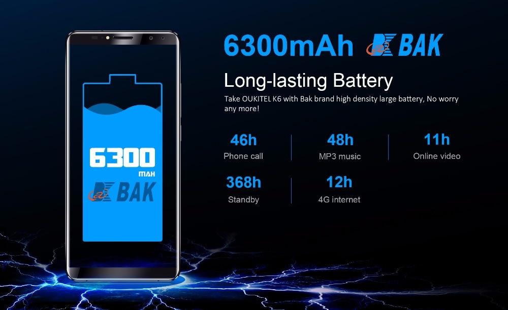 "HTB1pheahYYI8KJjy0Faq6zAiVXaZ - Original Oukitel K6 Face ID Smartphone 6300mAh 6.0"" 18:9 FHD+ MTK6763 6GB RAM 64GB ROM 5V/3A Quick Charge 4 Cameras Mobile Phone"