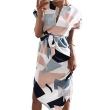 2018 Summer Dress Women Fashion Print Elegant Cute Sashes O-neck Sexy Slim Sheath Dress Women Dresses Vestidos Robes