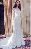 Vintage 2018 Beach Summer Full Lace Applique Sweep Train V Neck Long Sleeves Bride Gowns Vestidos de Novia bridesmaid dresses