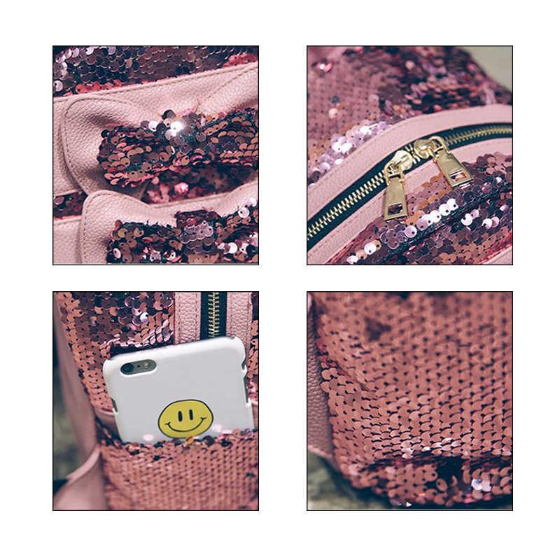 2019 Новые рюкзаки женские с блестками бантом сумки на плечо Модные школьные сумки PU сумка Mochila Блестящий Большой рюкзак