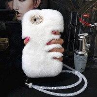 Woman Luxury Rhinestone Diamond Case Lady Fluffy Winter Warm Rabbit Hair Cover For Xiaomi Mi 6