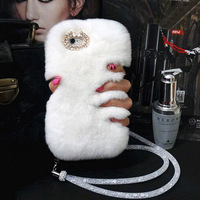 Woman Luxury Rhinestone Diamond Case Lady Fluffy Winter Warm Rabbit Hair Cover For Xiaomi Mi 6