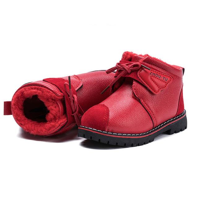 2017 niños botas de invierno forro de felpa botas de nieve del bebé con cordones chicas calientes shoes enfant botas botines niña de piel térmico