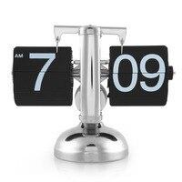 Retro Digital Alarm Clock Auto Flip Down Metal Desk Clock Modern Design Internal Table Watch Gear Operated Silent Clock