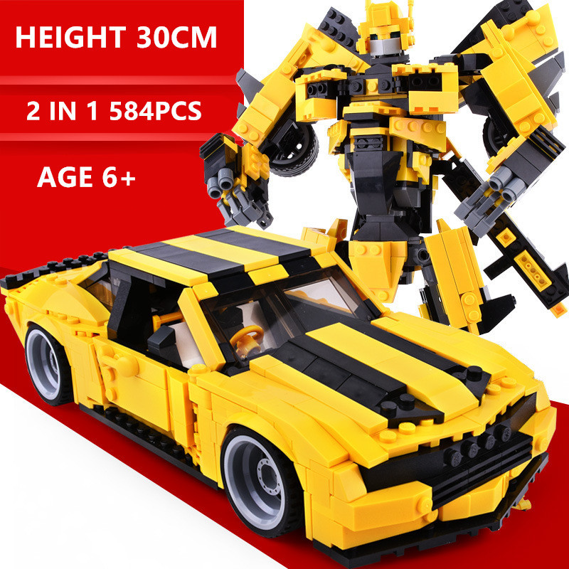 584Pcs 2IN1 Big Transformation Robot Yellow Car Bricks Technic City Building Blocks Sets Toys For Children