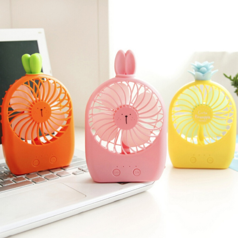 New Cute USB Portable Office Desktop Small Fan For Pineapple Rabbit Ear Imperial Crown Shape For Summer Outdoor Activity in Figurines Miniatures from Home Garden
