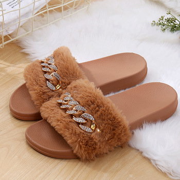 STONE VILLAGE 2019 New Women Slippers rhinestone Chain Fur Slippers Shoes solid Slip on flat Fur Fluffy Sliders shoes woman 1