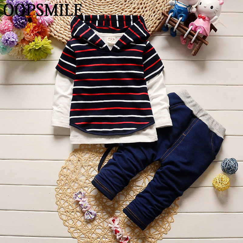 Baby boy clothes cotton stripe hoodies +shirt+jeans pants newborn boy clothes baby clothing set roupas de bebe 2pcs set baby clothes set boy