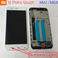 Xiaomi Mi A1 MiA1 5X Mi5X Glass Sensor Panel LCD Display Touch Screen Digitizer Assembly with Frame Support 10 Touch & Backlight