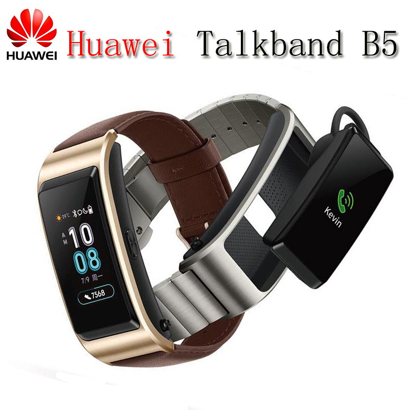 2018 NEW Huawei TalkBand B5 Talk Band Bluetooth Smart Bracelet Wearable Sports Wristbands Touch AMOLED Screen Call Earphone Band original huawei talkband b2 health smart bracelet band