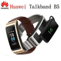 2018 NEW Huawei TalkBand B5 Talk Band Bluetooth Smart Bracelet Wearable Sports Wristbands Touch AMOLED Screen Call Earphone Band