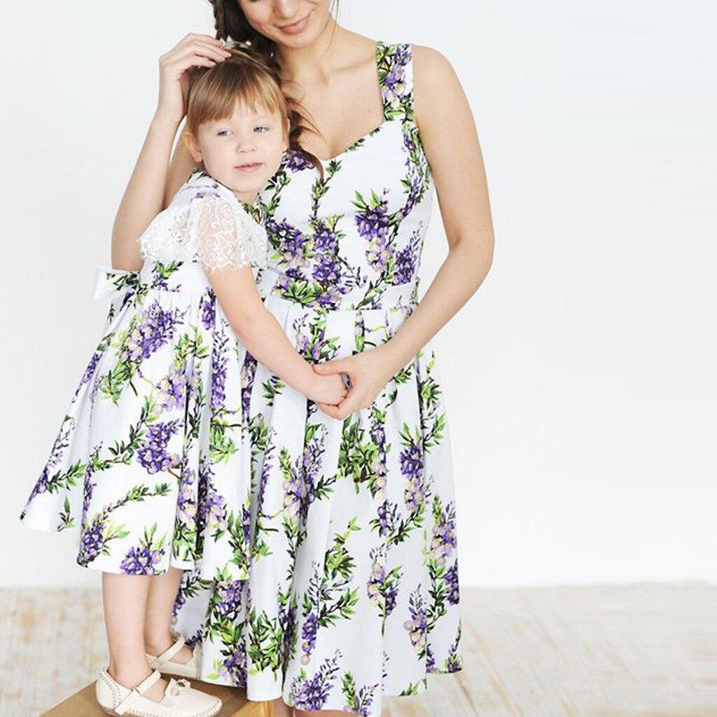 Kraftvoll Mom Mädchen Familie Passenden Ärmellose Kleidung Mutter Tochter Lose Blume Drucken Kleid Heißer 2019 платье летнее