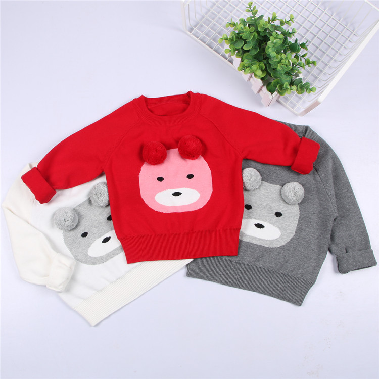 Girls Boys Bear Knitted Long Sleeve Sweaters Children Pullover ...