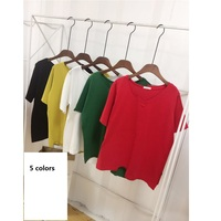 5 Colors Women Summer Solid V Neck T Shirt Fashion Colorful Plus Size Women S Clothing
