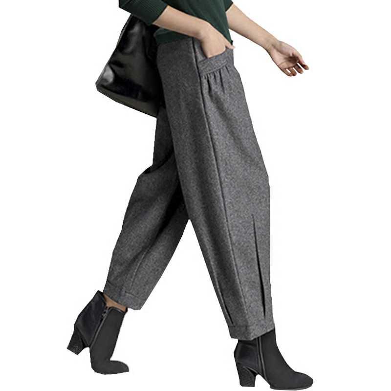 2cf964ae2fa Высокое качество Новые шерстяные брюки осень и зима Высокая талия  Harlan-стиль женские девять брюки