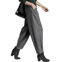 High quality new woolen pants autumn and winter high waist Harlan style women's nine pants casual fashion lanterns radish pants