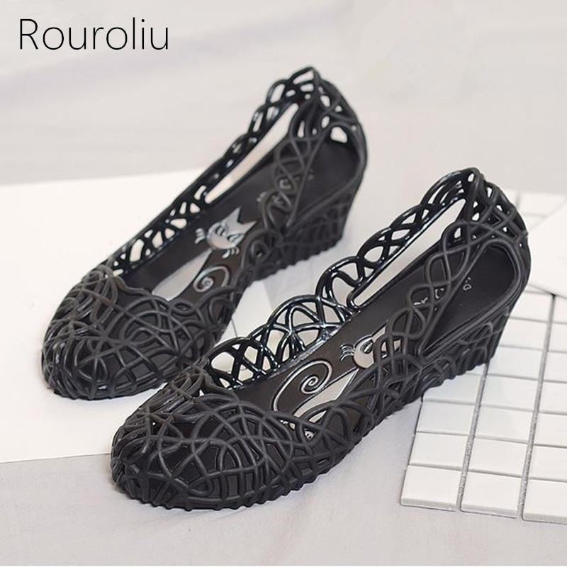 4c2c48c6a1cd Rouroliu Women Fashion Breathable Hollow Out Hole Shoes Comfortable  Waterproof Wedges Jelly Beach Shoes Sandals Woman RB211