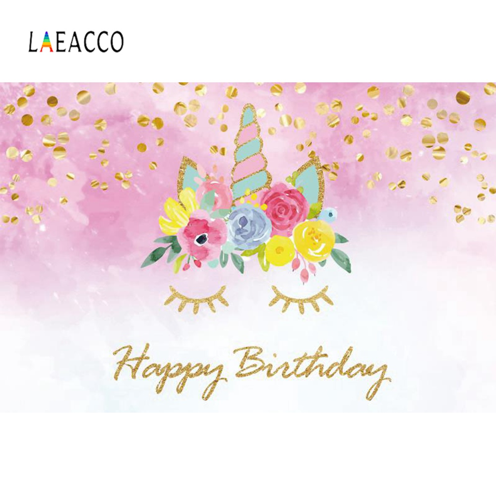 Laeacco Unicorn Party Backdrops For Photography Happy Baby Birthday Sequins Child Portrait Backgrounds Photocall Photo Studio