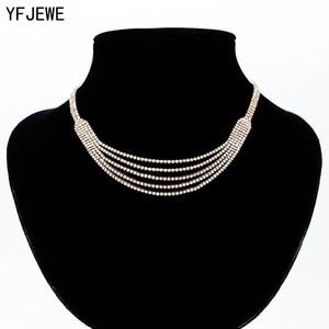 YFJEWE женское волнистое Logan ожерелье для ключицы, роскошный кристаллический чокер, Ожерелье Подвеска со стразами ювелирные воротнички, ожере...