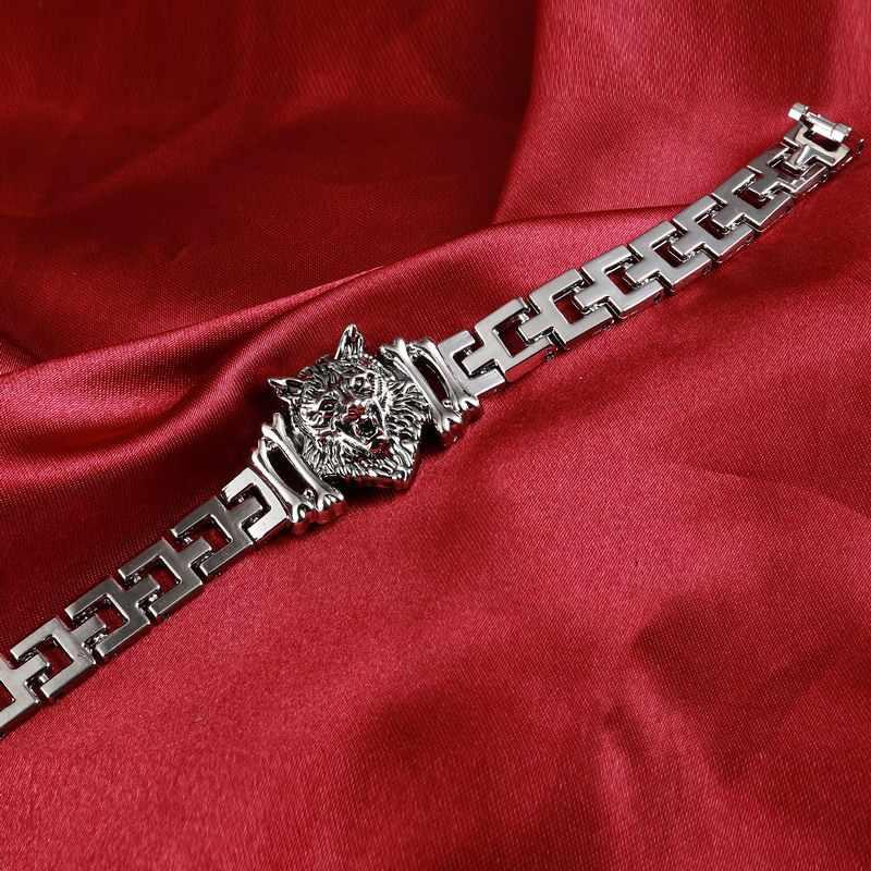 Moda Punk wilk głowy amulet ze stali nierdzewnej bransoletka dla kobiet bransoletki i Bangles Charms bransoletki mężczyzn biżuteria prezent Pulseira