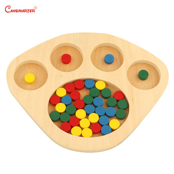 Montessori Sensory Toys Sorting Tray for Toddler Math Exercises Student Educational Toy Colored Discs With Sorting Board SE070 guidecraft сортер sorting tree