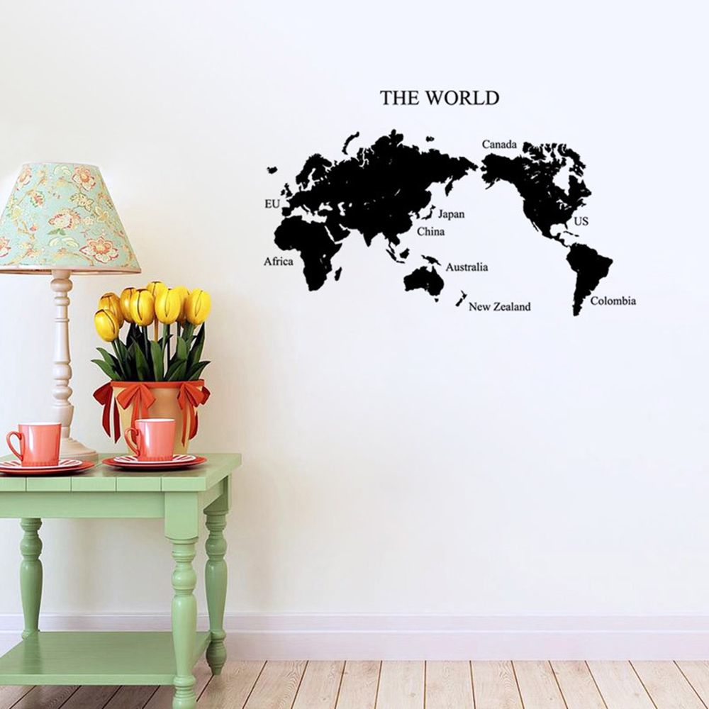 Best Selling Home Bedroom Decoration Vinyl Wall Stickers Poster Creative Letter World Map For Kids DIY Art Wall Decals HG0068 image