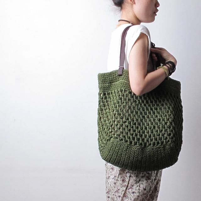 Flower Buckle Fluid Line Handmade Crochet Bag Woven Bag Genuine