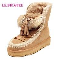 LLOPROST KE vrouwen Enkellaarsjes Echt Schapenleer Snowboots Natuurlijke Bont Wol Warm Winter Laarzen Kwastje Topkwaliteit MY071