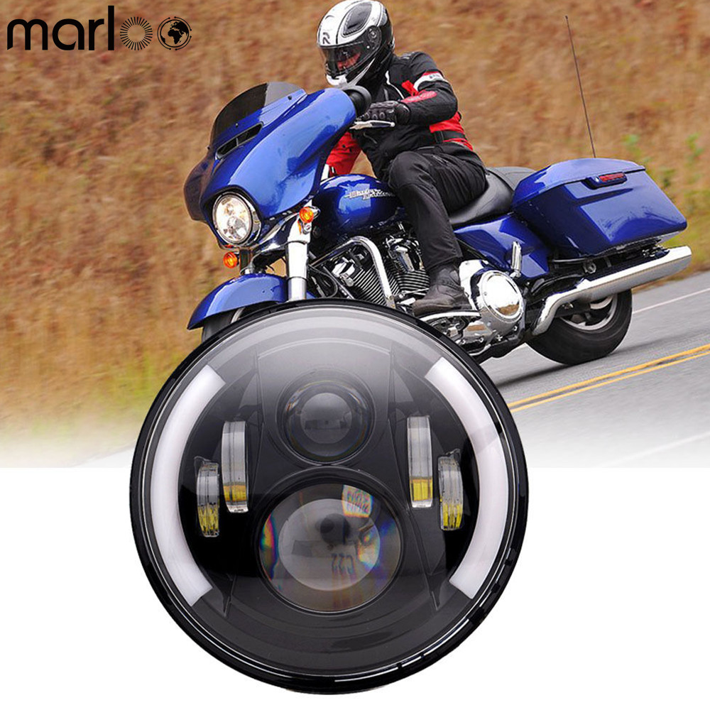Marloo Harley Motorcycle 7 Round headlight DRL Left With Right Turn Signal for Harley Davidson Street Glide Road King Touring