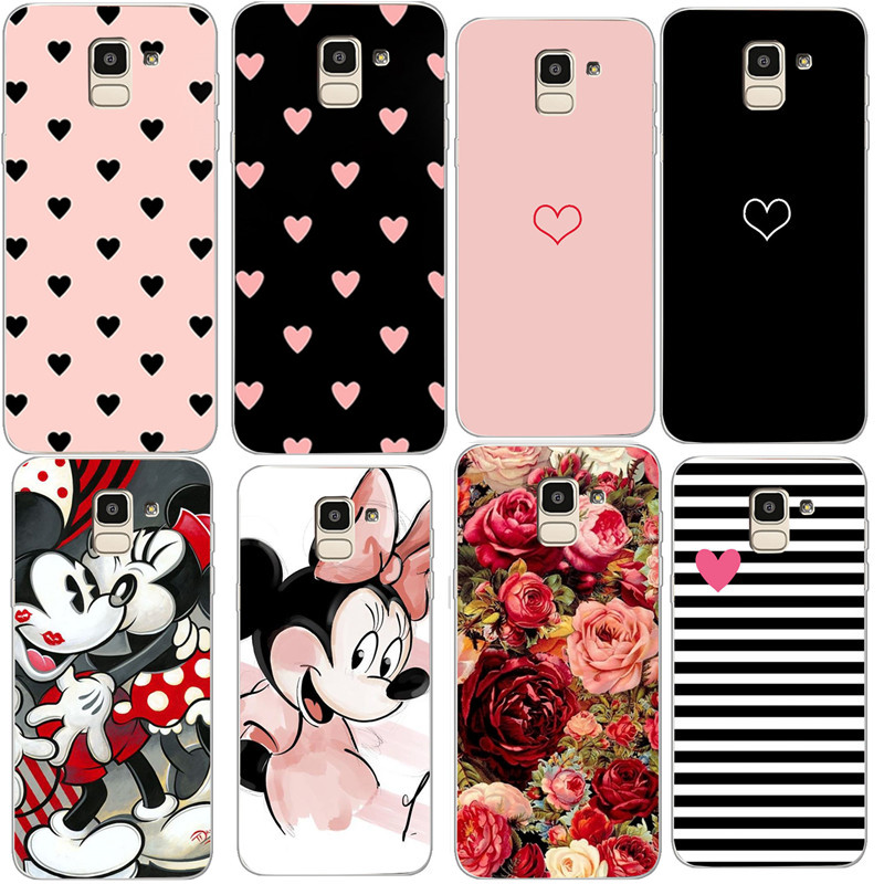 Couples Love Heart Pink Case For Samsung Galaxy S8 S9 Plus J4 J6 J8 2018 S7 Edge Note 9 Case Cover Soft Silicone Girl Men Case image